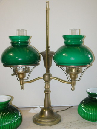 Antique lamp parts vintage double student lamp shown with matching vianne glass 7 shades and chimneys mozeypictures